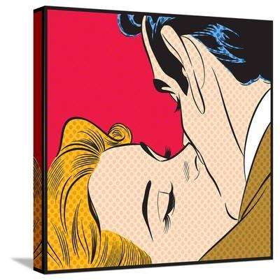 Kissing Couple--Stretched Canvas Print
