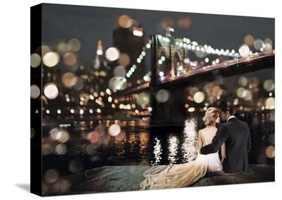 Kissing in a NY Night-Dianne Loumer-Stretched Canvas Print
