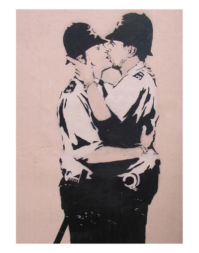 Kissing policemen-Banksy-Art Print