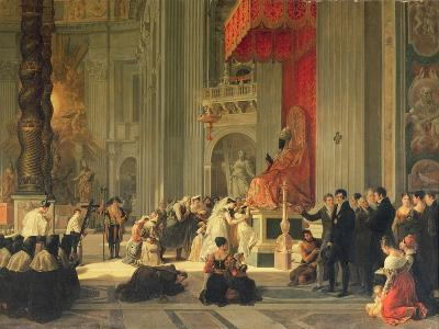 Kissing the Feet of the Statue of St. Peter in St. Peter's, Rome, 1812-Antoinette Cecile Hortense Lescot Haudebourt-Giclee Print