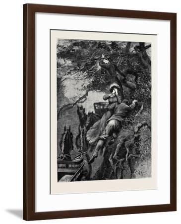 Kit, a Memory; Hugging Her to His Breast, He Leapt Not at the Branch, But at the Bank Itself--Framed Giclee Print