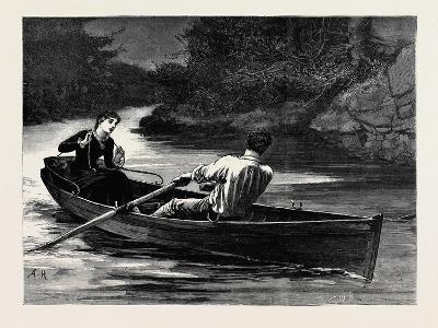 Kit, a Memory; She Took the Rudder-Lines, While Frank Seized the Oars--Giclee Print