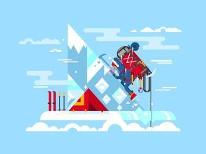 Climber Conquers the Summit. Mountain and Adventure, Climbing and Challenge, Brave and Courage, Ext by Kit8 net