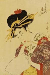A Bust Portrait of the Courtesan Fujie from Manjiya by Kitagawa Utamaro