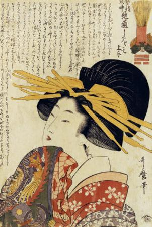 A Courtesan Raising Her Sleeve by Kitagawa Utamaro