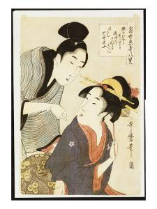 A Double Half-Length Portrait of a Beauty and Her Admirer by Kitagawa Utamaro