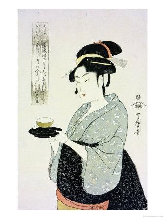 A Half Length Portrait of Naniwaya Okita, the Famous Teahouse Waitress Serving a Cup of Tea