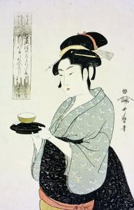 A Half Length Portrait of Naniwaya Okita, the Famous Teahouse Waitress Serving a Cup of Tea by Kitagawa Utamaro