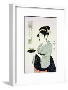 A Half Length Portrait of Naniwaya Okita, the Famous Teahouse Waitress Serving a Cup of Tea by Kitagawa Utamaro