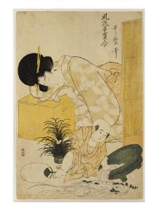 A Mother Dozing While Her Child Topples a Fish Bowl by Kitagawa Utamaro