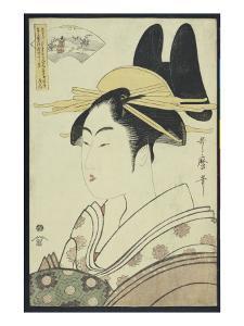 A Okubi-E Portrait of a Courtesan Representing the Hagi or Noki River by Kitagawa Utamaro