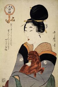 A Woman Holding a Dog in Her Arms, from 'Five Physiognomies of Beauty', C.1804 by Kitagawa Utamaro