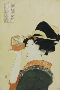 A Young Girl Looking Through a Nozoki Megane, Magic Lantern by Kitagawa Utamaro