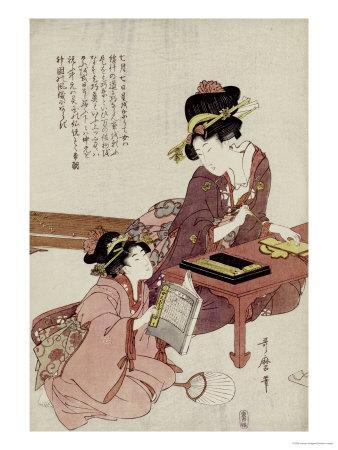 A Young Woman Seated at a Desk Writing, a Girl with a Book Looks On