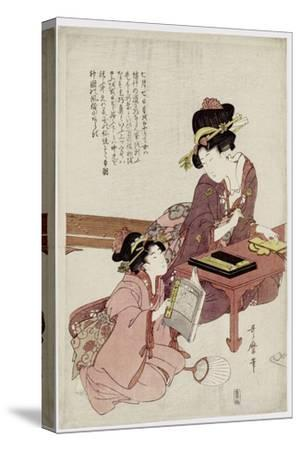 A Young Woman Seated at a Desk, Writing, a Girl with a Book Looks On