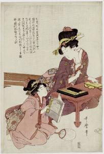 A Young Woman Seated at a Desk, Writing, a Girl with a Book Looks On by Kitagawa Utamaro