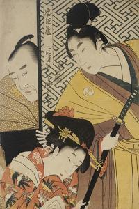 Act II of Chushingura, the Young Samurai Rikiya, with Konami, Honzo Partly Hidden Behind the Door by Kitagawa Utamaro