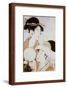 Bust Portrait of Two Women, One Holding a Fan, the Other with a Head Cover Holding a Tea Cup by Kitagawa Utamaro