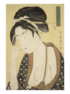 Courtisane, le buste à moitié nu se curant les dents de la main gauche by Kitagawa Utamaro