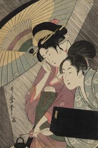 Geisha and Attendant on a Rainy Night, c.1797 by Kitagawa Utamaro