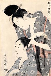 Hairdresser from the Series 'Twelve Types of Women's Handicraft', C.1797-98 by Kitagawa Utamaro