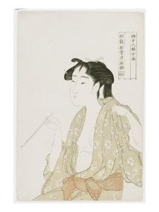 Half Length Portrait of a Woman Smoking, Holding a Pipe and Exhaling a Cloud of Smoke, C.1792 by Kitagawa Utamaro