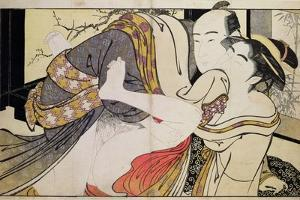 Lovers from the 'Poem of the Pillow' by Kitagawa Utamaro
