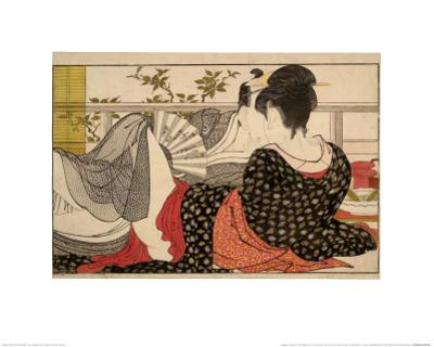 Lovers in an Upstairs Room, from Uta Makura ('Poem of the Pillow'), a Colour Woodblock Print