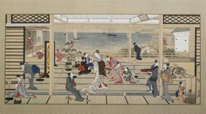 Moonlight Revelry at Dozo Sagami, Late 18th C by Kitagawa Utamaro