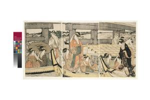 On top and beneath Ryogoku Bridge , c.1795-96 by Kitagawa Utamaro