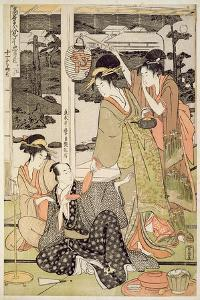 P.359-1945 Scene 12, Comparison of Celebrated Beauties and the Loyal League, C.1797 by Kitagawa Utamaro