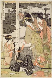 P.359-1945 Scene 12, Comparison of Celebrated Beauties and the Loyal League, C.1797 by Kitagawa Utamaro