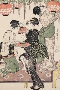 Teahouse Girls under a Wistaria Espalier, 1795 by Kitagawa Utamaro