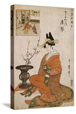 The Courtesan Karakoto of the Chojiya Seated by an Arrangement of Plum Flowers