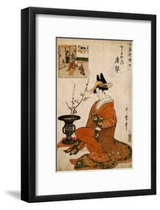 The Courtesan Karakoto of the Chojiya Seated by an Arrangement of Plum Flowers by Kitagawa Utamaro