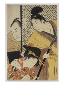 The Young Samurai, Rikiya, with Konami and Honzo Partly Hidden Behind the Door by Kitagawa Utamaro