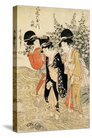 Three Girls Paddling in a River, Fashionable Six Jewelled Rivers, Yamashiro Province, Pub. 1790