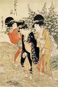 Three Girls Paddling in a River, Fashionable Six Jewelled Rivers, Yamashiro Province, Pub. 1790 by Kitagawa Utamaro
