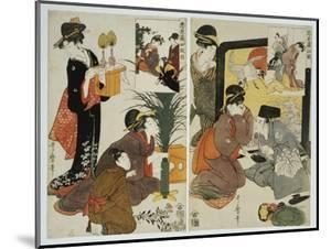 Two Scenes from the Series 'Loyal League' Depicting Everyday Life of an Edo Period Household by Kitagawa Utamaro