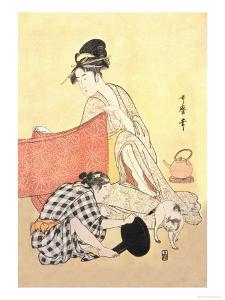 Two Women and a Cat by Kitagawa Utamaro