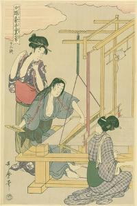 Weaving the Silk, No.12 from 'Joshoku Kaiko Tewaza-Gusa', C.1800 by Kitagawa Utamaro