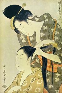 Woman Dressing Another's Hair by Kitagawa Utamaro