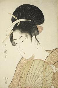 Woman Holding a Round Fan, C.1797 by Kitagawa Utamaro