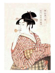 Woman Playing a Poppin by Kitagawa Utamaro