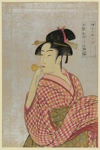Young Lady Blowing on a Poppin by Kitagawa Utamaro