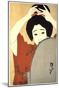 Woman Adjusting Her Hair in Front of the Mirror, 1930 by Kitano Tsunetoni