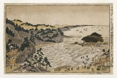 View of the Golden Turtle Hill at Enoshima and Shichiri Beach from Kamakura Mountains, 1783-90