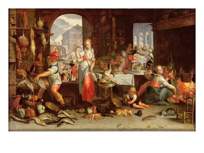 Kitchen Scene with the Parable of the Feast-Joachim Wtewael Or Utewael-Giclee Print