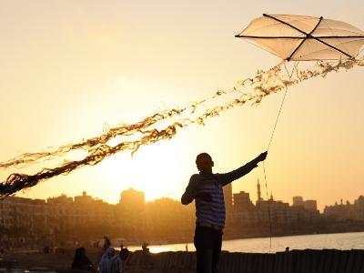 Kite Flyer Along the Corniche-Michael Benanav-Photographic Print