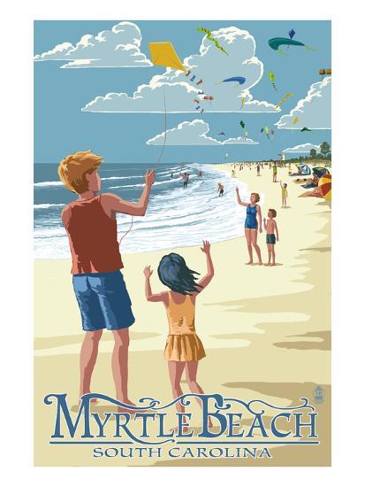 Kite Flyers - Myrtle Beach, South Carolina-Lantern Press-Art Print